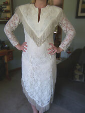 CUSTOM MADE Western Lace Wedding Dress Gown Fringe w/ Cowboy Hat train BOHO