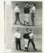 Ted Williams argues call with ump Russell Goetz Texas Rangers 1972 press photo