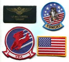 BILL COUGAR CORTELL TOP GUN MOVIE US NAVY F-14 SQUADRON COSTUME PATCH SET
