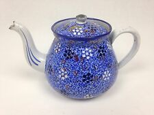 Antique French Enamel Teapot | B.B. Made, Hand Painted, Blue, Flowered