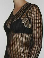 FISHNET LONG SLEEVE CROCHET STRIPE TOP DANCE GOTHIC PUNK COSTUME AUSSIE SELLER