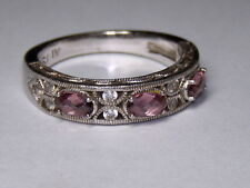 STERLING SILVER 925 ESTATE TACORI IV PINK CUBIC ZIRCONIA BAND RING SIZE 9
