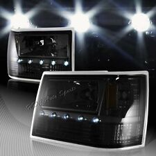 For 1993-1998 Jeep Grand Cherokee 1-Piece Smoke LED HeadLights + Bumper + Corner