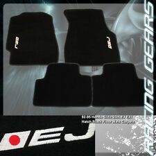 For 92-95 Honda Civic Coupe 2 Door Black Nylon Non Skid Floor Mat Carpet EJ Logo