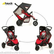 Hauck RED Freerider tandem Double twin pushchair pram buggy 3wheeler+RAINCOVER