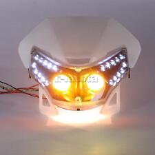 White Motorcycle LED Dual Headlight for Offroad Motocross Dirt Bike Naked Bike