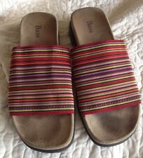 "BASS ""LAILA"" RED MULTI-STRIPED SLIDES SANDALS ~ Ladies Size 8M"