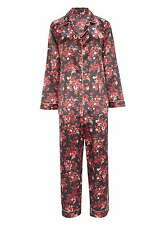 Womens Black Red Gold Santa Baby Floral Satin Revere Pyjama Set UK 18 EU 46