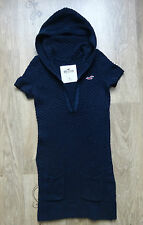 Womens HOLLISTER Cable Knit Hooded Jumper Tunic Navy Size S ,Good condition !