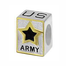 US Army Logo 925 Sterling Silver Bead fits European Modular Charm Bracelets