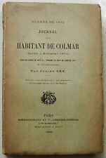 Journal d un Habitant de Colmar Juillet à Novembre 1870  Julien SEE éd 1884