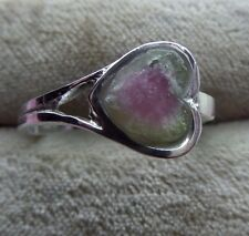 Rough Watermelon Tourmaline 8x8mm Handcrafted Silver 925 Heart Ring skaisJ17
