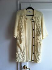 Tibi Ivory Sweater Jacket w/Cable Detail & Snap Closure, One Size Fits All, NWOT