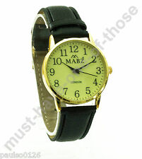 Ladies Watch, Easy Read Glow in The Dark Dial, Black Leather Strap, By Mabz Gold
