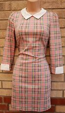 BLUE VANILLA PINK CHECK TARTAN CHECKED BLUE WHITE BODYCON TUBE PINK DRESS XS 6