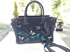 NWT Coach BUTTERFLY Applique Coach swagger 27 Glovetanned leather Satchel 38366