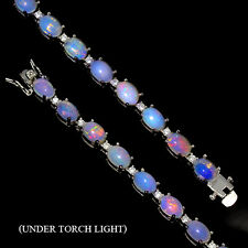 Sterling Silver 925 Genuine Natural Cabochon Opal Tennis Bracelet 7 Inches #3