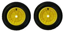 """PACK OF 2 YELLOW 14"""" WHEELBARROW WHEELS 3.50-4.00-8 REPLACEMENT INFLATABLE TYRE"""