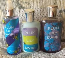 Bath And Body Works Set Of 3 Lily Plum Swirl Opened