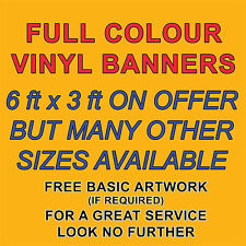 PVC BANNERS - PRINTED OUTDOOR SIGN VINYL BANNERS FREE DESIGN - SIZE 6ft x 3ft