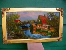 "Reverse Painting On Glass -""THE VILLAGE MILL"" - Gold Frame W/Filagree Corners"