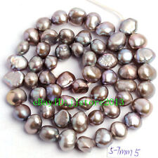 5-7mm Natural Gray Freshwater Pearl Freeform Shape Gems Loose Beads Strand 15""
