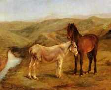 Metal Sign Bonheur Rosa A Horse And Donkeys In A Hilly Landscape A4 12x8 Alumini
