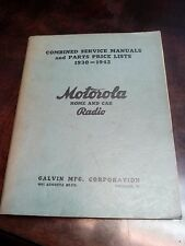 Motorola Radio Stereo 1930 - 1942 Vtg Antique Home Car Repair Service Manual