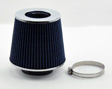 """Universal 3"""" 76MM Open Top Cone Short & Cold Air & Turbo Intake Filter Blue Sil"""