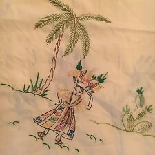 "Vintage Tablecloth Yellow Table Topper Mexican Scenes Embroidered 34"" Sq"