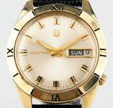 RARE Vtg Bulova Accutron Men's 14k Yellow Gold Watch Day/Date Tuning Fork 218