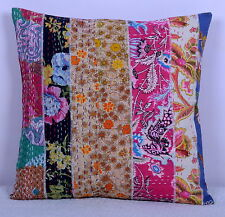 40 X 40 Cm Multicolor Cushion Cover Kantha Patchwork Pillow Case Cotton Throw 16