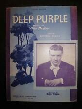 Deep Purple Sheet Music Vintage 1939 Dick Todd Peter De Rose Voice Piano (O)