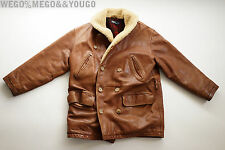 Ralph Lauren Polo RL Distressed Heavy SHEARLING LEATHER Jacket Coat Brown M