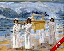 ARK OF THE COVENANT PASSING OVER JORDAN PAINTING BIBLE ART REAL CANVAS PRINT