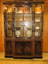 Vintage Chinoiserie Black Lacquer China Cabinet Mid Century Breakfront PICK UP