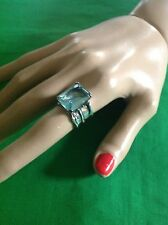 Retired Silpada Sterling Silver R1608 Emerald Cut Aqua Blue Glass Ring size 5