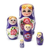 5pcs Purple Dolls Set Wooden Russian Nesting Babushka Matryoshka Hand Painted