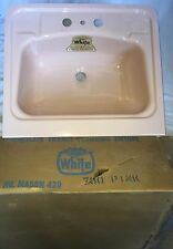 Vtg NEW OLD STOCK IN BOX 1950's PINK Enameled Sink By White 19 3/4 X 17 W Apron