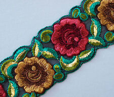 Red & Brown Flowers Embroidered On Black Sewing Trim. 3 Yards.