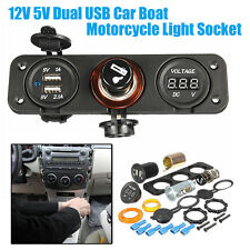 Dual USB Car Boat Motorcycle Voltage Cigarette Lighter Power Plug Socket 12V 5V