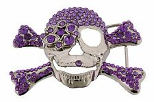 Mens Women Skull Belt Buckle Skeleton Rhinestone Tribal Gothic Tattoo Purple New