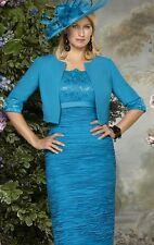 Condici madre de la novia novio Verde Azulado Vestido, chaqueta y Hatinator Talla 14