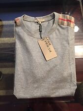 New Burberry Grey Patch Shoulder Nova Check Plaid Men T-shirt XXL XL L M S $225