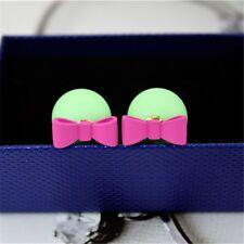 Fashion Candy Color Scrub Pearl Double Sided Butterfly Ear Stud Women Earrings