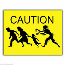 CAUTION ZOMBIE ATTACK METAL WALL SIGN/PLAQUE art funny humorous bedroom poster