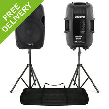 """Pair Active Powered DJ PA Speaker System with Stands