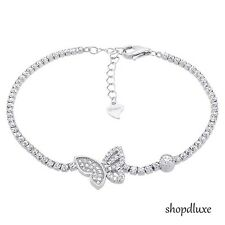 STUNNING ROUND CUT CLEAR CZ .925 STERLING SILVER BUTTERFLY TENNIS BRACELET