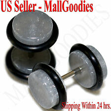 2075 Metallic Gray Fake Cheater Illusion Faux Ear Plugs 16G Bar 0G = 8mm - 2pcs