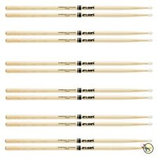 Pro-Mark TX5AN Hickory 5A Nylon Tip Drumsticks Medium Taper Oval Tip 6 Sets pair